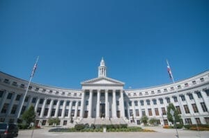 Picture of Denver's city and County Building on a nice day.